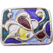SALE Enamel Sterling Oystein Balle Multi-color Modernist Brooch/Pin