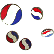 Rare Pepsi Collectible Item - 5 Enamel on Sterling Buttons - Red, White, and Blue - July 4th G
