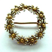 14K Antique Enamel and Gold Daisy Circle Pin/Brooch