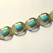SALE Made in Mexico Alpaca Silver and Faux Turquoise Bracelet