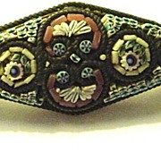 Lovely Small Micromosaic Diamond-Shaped Pin from Italy