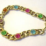 SALE Multi-color Pastel Faux Gem and Goldtone Link Bracelet