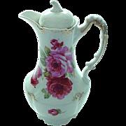 Vintage Large Rose Decorated Chocolate Pot