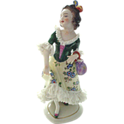 SOLD Oldest Volkstedt Dresden Lace Figurine of Lady - Red Tag Sale Item