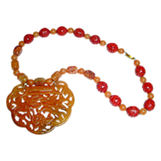 SALE Very Large Chinese Jade Carved Lock Ruyi Form Pendant Necklace in Shades of Russet Neckla