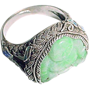 SALE Vintage Chinese Jade Buddha and Silver Enamel and Filigree Ring