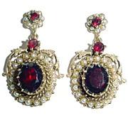 SALE Vintage 14K Gold, Pearl, and Garnet Dangle Earrings