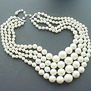 SALE Fabulous Large Faux Pearl 4-Strand Necklace