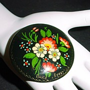 Russian Handpainted Floral on Papier Mache Pin