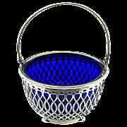 Antique Whiting Sterling Silver Basket with Cobalt Blue Liner