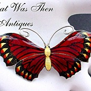 SALE John Atkins & Sons 1917 Multi-Color Enamel on Sterling Butterfly Pin