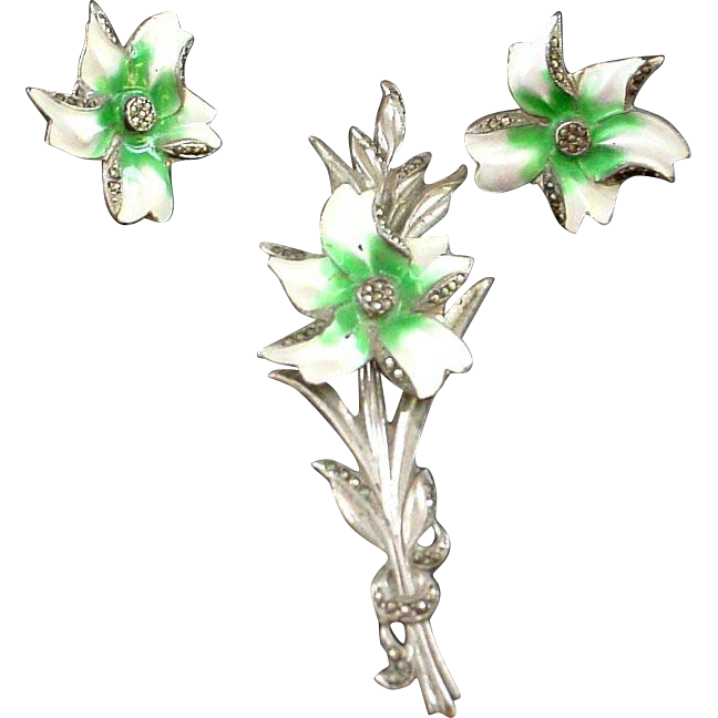 """Enamel on Sterling Brooch and Earring Set - Orchid - 3 3/4"""""""