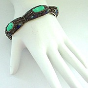 SALE Vintage Chinese Enamel, Silver, and Turquoise Bracelet Narrow and 7 3/8""