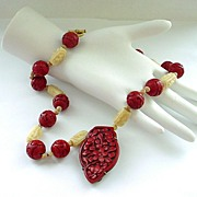SALE Wonderful  Necklace with Carved Chinese Cinnabar  Pendant and Carved Beads