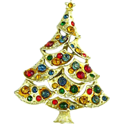 Pretty Vintage Christmas Tree Pin with all Round Stones