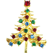 Rhinestone and Gold Metal Christmas Tree Pin