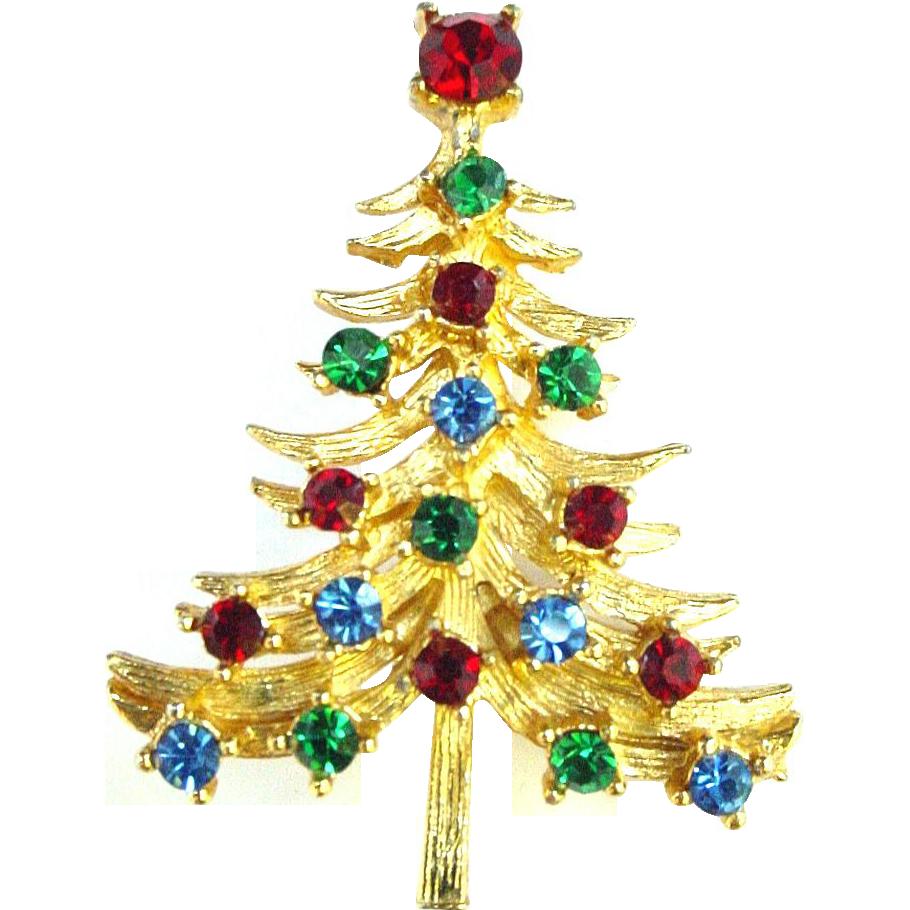 Rhinestone and Gold Metal Christmas Tree Pin