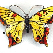 SALE Enamel on Sterling Butterfly Pin - Rusty Red Yellow and Black