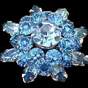 Vintage Coro Bright Blue Crystal Starburst Pin Brooch