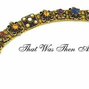 SALE Faux Gemstone Bracelet in Antique Slide Style