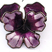SALE David Andersen Norway Enamel on Sterling Pansy Pin