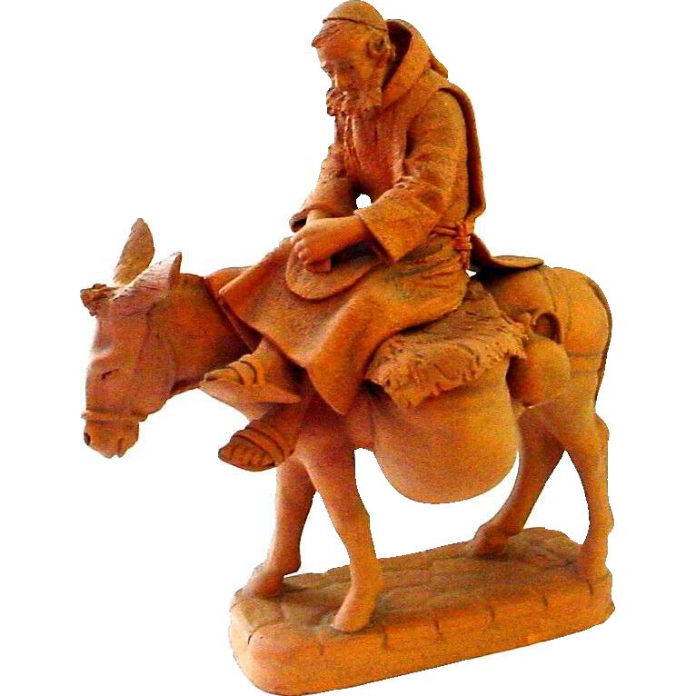 Terracotta Sculpted Figure of Man on Donkey - Joseph?