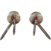 Selina Jake Signed Native American Sterling Silver and Coral Earrings