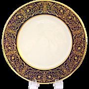 SOLD 12 Splendiferous 1930s Raised Gold on Cobalt Blue Plates - Gold 'Jewelling' - Early Lenox