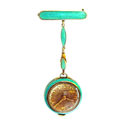 SALE Amazing Bucherer Enamel Gilt Silver Pendant Watch plus Extras in Original Box!! Chain and