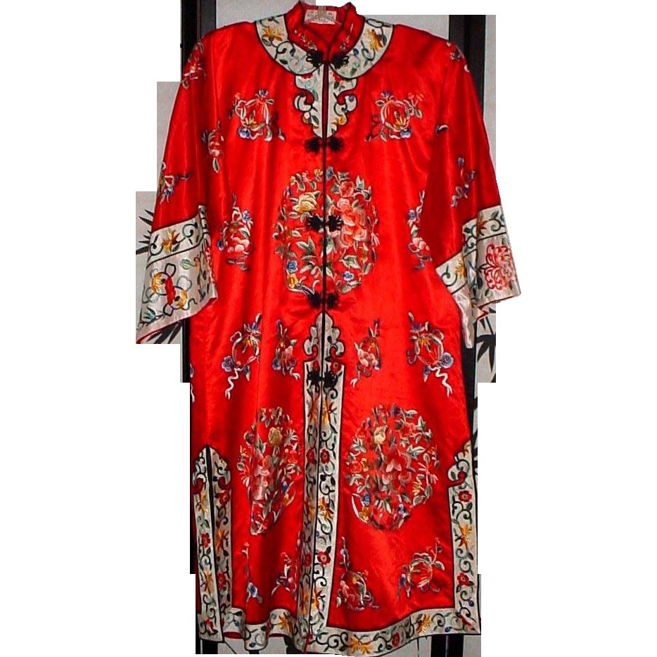 Ravishing Red Silk Embroidered Robe or Kimono - over 15  Colors
