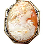 SALE Large and Beautiful 14K Filigree Antique Cameo Pin Brooch or Pendant