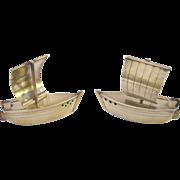Figural Sterling (950) Boat Salt and Pepper Set