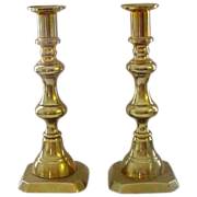 """Antique Solid Brass Push Up Candlesticks 9"""""""