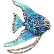 SALE German Enamel Sterling Silver and Marcasite Angel Fish Brooch Pin