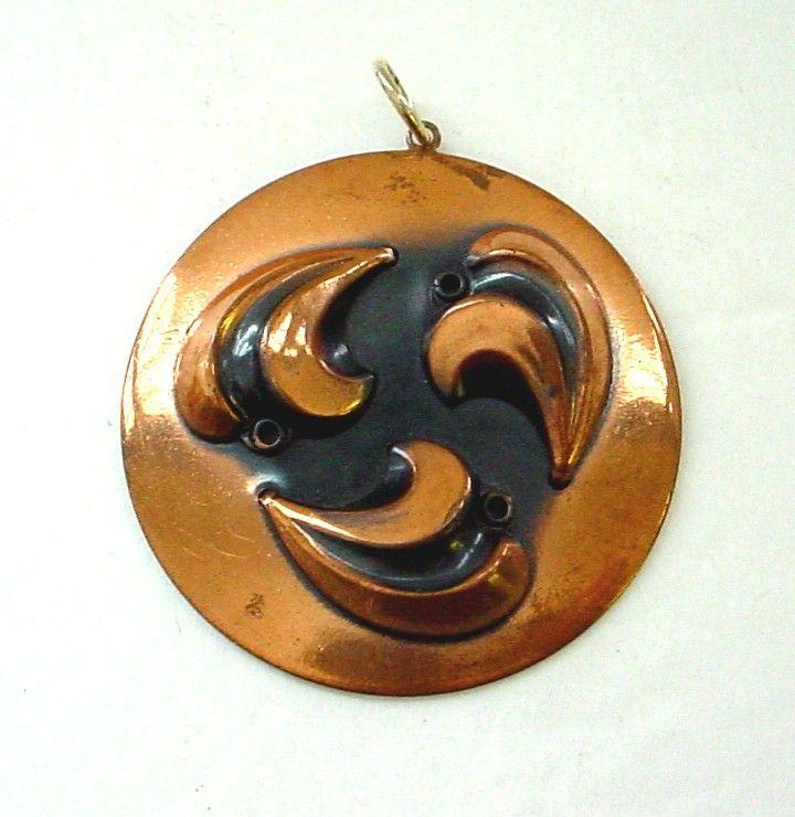 Large Vintage Rebajes Copper Pendant