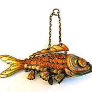 SALE Vintage Enamel on Silver Chinese Articulated Googly Eyed Fish Koi in Fabulous Colors