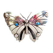 SALE Unusually Large 1920s-1940s  Mexico Silver Butterfly Pin