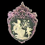 Tricolor German Jasperware Jasper Ware Plaque with Serenading Angel