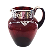 Very High Quality Red Glass Silver Decorated Large Pitcher