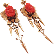 SALE Our BEST Antique 14K Carved Coral Cameo Dangle Earrings