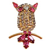 Pink Accented Rhinestone Owl Pin