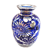 Cobalt Blue and Silver Deposit Vase