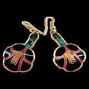 Vintage Enamel Dangle Earrings in Floral Design