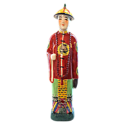 Chinese Imperial Figure in Traditional Red Robe