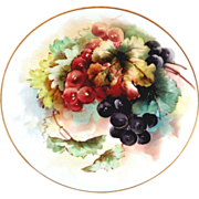 Limoges Guerin Handpainted Plate with Grapes by Guerin