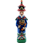 SOLD Signed Chinese Imperial Figure in Traditional Blue Embroidered Robe