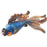 SALE One of Our BEST EVER Chinese Silver Enamel Giant Articulated Fancy Googly Eye Goldfish or