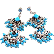 Large Faux Turquoise Chandelier Dangle Earrings