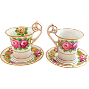 Stunning PAIR of Antique Dresden Cups and Saucers with Handpainted Roses