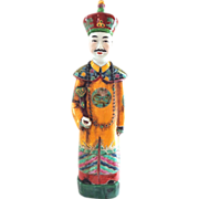 SOLD Very Tall Signed Chinese Imperial Figure in Traditional Yellow Robe